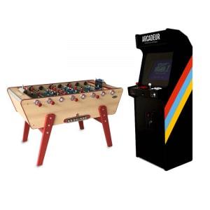 Pack borne d'arcade au choix avec monnayeur + baby-foot Champion Stella