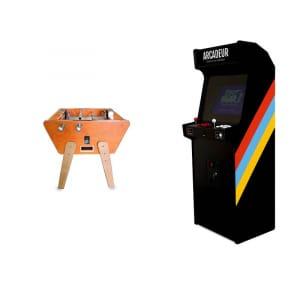 Pack baby-foot Duo Toi et Moi Stella Cuir + borne d'arcade au choix