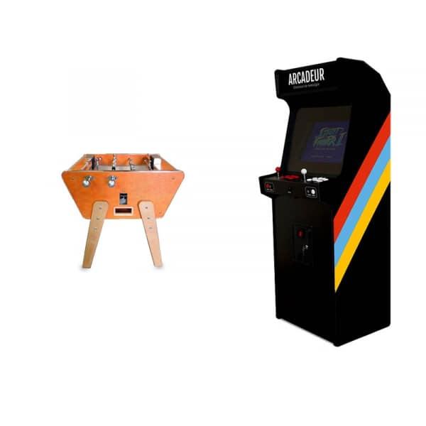 Pack baby-foot Duo Toi et Moi Stella Cuir + borne d'arcade