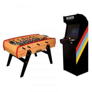 Pack borne d'arcade au choix sans monnayeur + baby-foot Sulpie Evolution Bois Naturel personnalisable