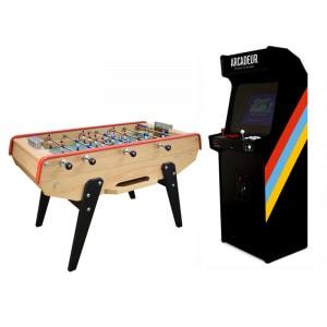 Pack borne d'arcade au choix avec monnayeur + baby-foot Petiot 200 personnalisable